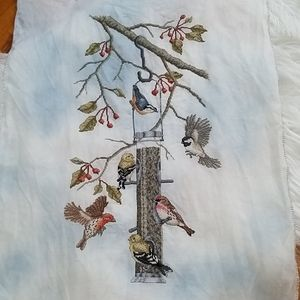 Vintage Wall Art - Birds Feeder Cross stitch large picture Wall